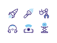 Icons for MEL Kids kids science lift apple projector headphones robot arm flashlight rocket icon vector