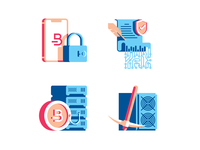 Bitcoin icon set cryptocurrency blockchain lock contract server coin mining bitcoin flat illustration icon vector