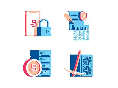 Bitcoin icon set cryptocurrency blockchain lock contract server coin mining bitcoin flat illustration icon vector