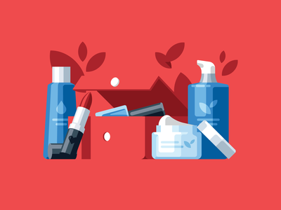 Beauty box care cream red leaf lipstick cosmetic beauty flat illustration icon vector