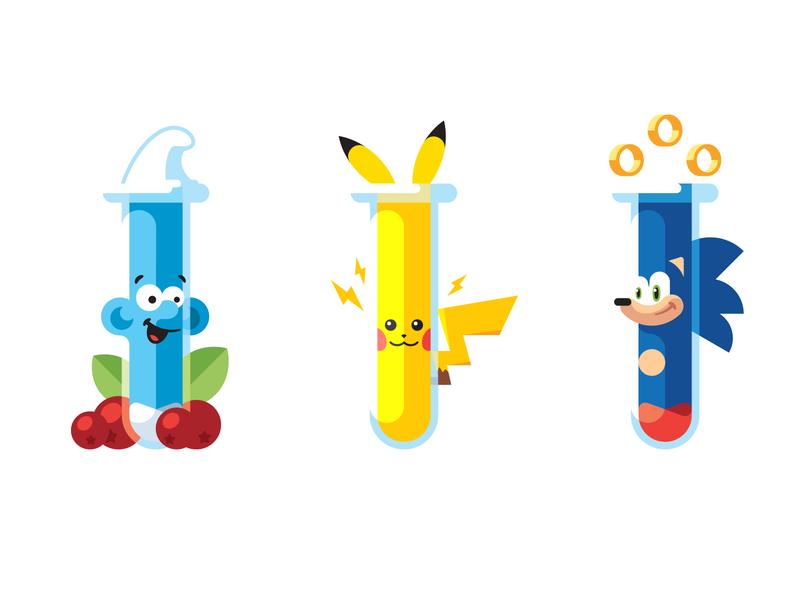 Cartoon names pokemon sonic the hedgehog testtube character smurf pikachu sonic science chemistry flat simple illustration vector