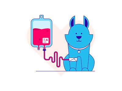 Blood donate donate blood blue dog animal illustration vector