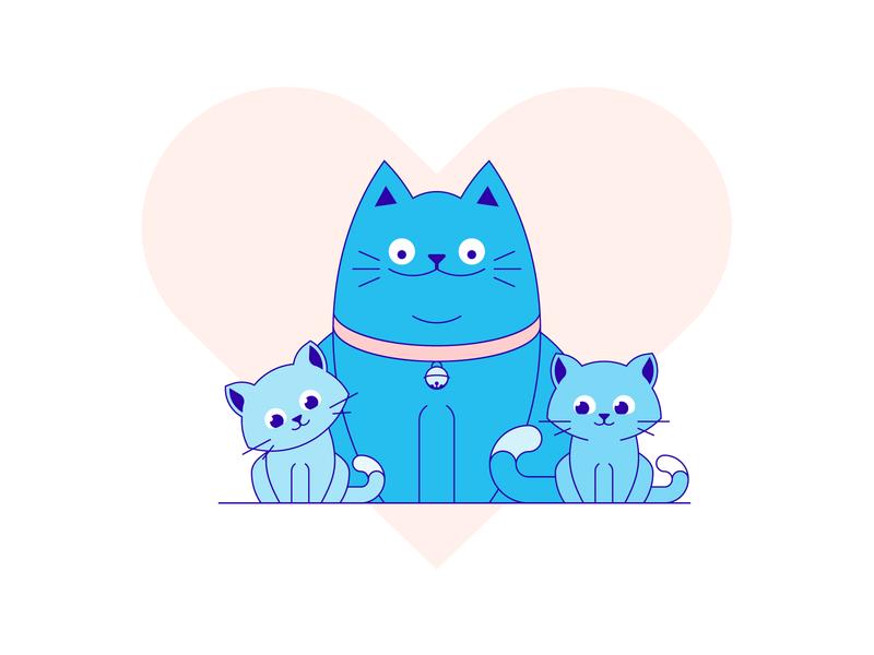 Happy family animal heart family blue kitten cat illustration vector