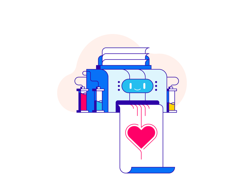 Love printer heart poster paper robot love printer illustration vector