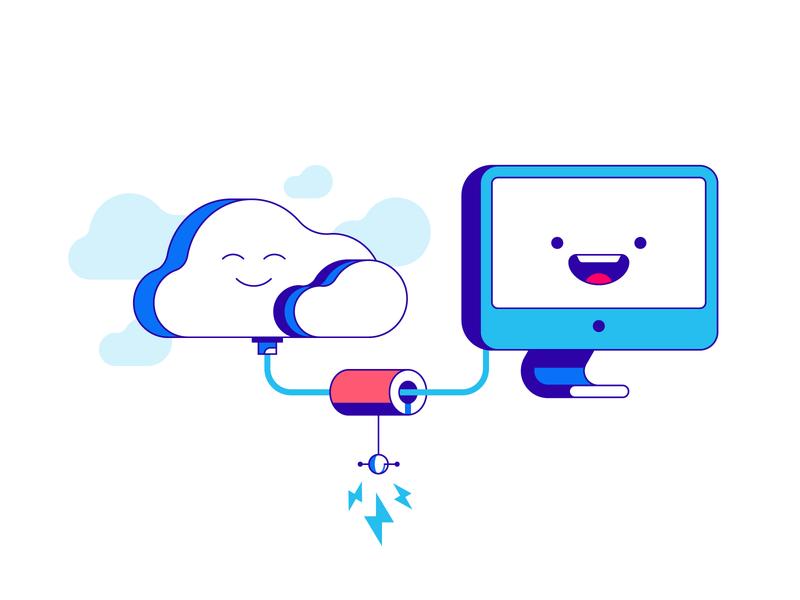 Cloud connection happy signal connection computer technology cloud illustration vector