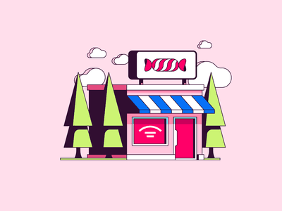 Candy shop simple illustration vector sweets building commerce shop candy