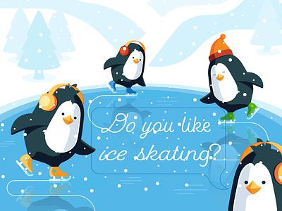 Ice skating landskape lake winter penguin ice skating flat illustration vector