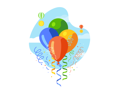 Balloons in the sky confetti sky celebration congratulation balloons simple illustration vector