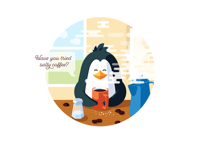 Salty coffee animal salt hot coffee cup morning coffee pinguin illustration vector