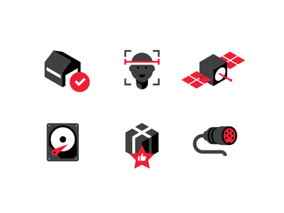 Movireg icons warehouse face scan plug satellite box connection building flat simple icon vector