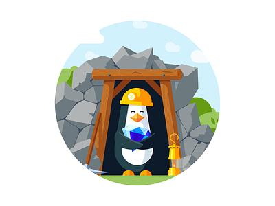 Penguin miner cave diamond mining miner penguin animal illustration vector