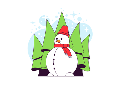 Snowman in the forest snow tree pine forest christmas winter snowman simple flat illustration vector