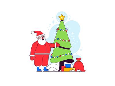 Santa Claus snow winter gift santa christmas tree christmas simple flat illustration vector
