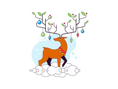 Reindeer winter decoration xmas deer reindeer cloud animal flat simple illustration vector