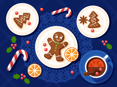 Christmas desserts plate table berry mood candy gingerbread chemistry christmas xmas flat illustration vector
