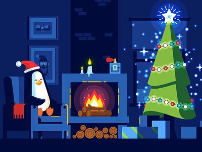 Christmas aromas fire fireplace xmas decoration tree pinguin chemistry aroma christmas simple flat illustration vector