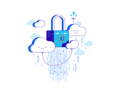 Security cloud storage database data storage safety lock cloud line simple illustration vector