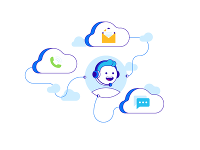 Contact us cloud connection simple illustration vector message chat phone mail contact