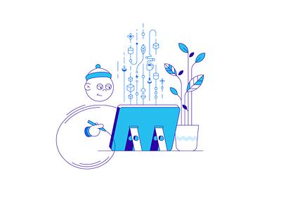 Designer at work creative tablet fantasy draw plant designer simple illustration vector