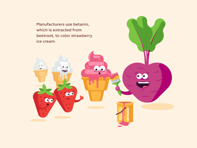 Strawberry ice cream science pink color ice cream ice beetroot strawberry cute funny illustration vector