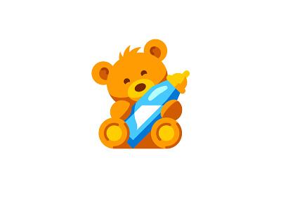Teddy bear icon vector baby milk bottle animal bear teddy cute