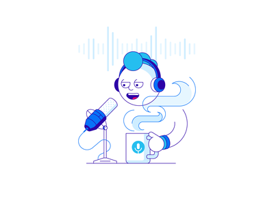 Podcast steam coffee microphone broadcasting podcast illustration vector