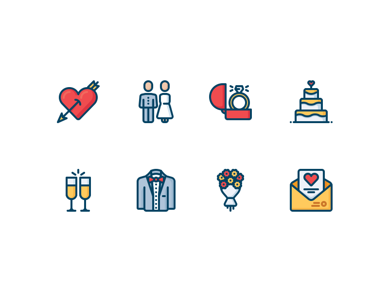 Love and wedding icons letter cake marriage groom couple party engagement ring valentine romantic wedding love