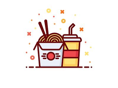 Wok box vector eat soda illustration box fast food chinese noodle wok