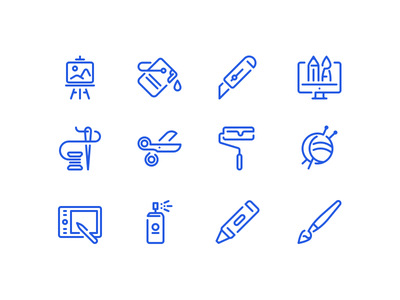 Design and craft icons draw art brush paint scissors creative craft set vector design icon
