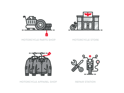 Mini illustration set  icon repair parts store wear vector illustration shop motor bike