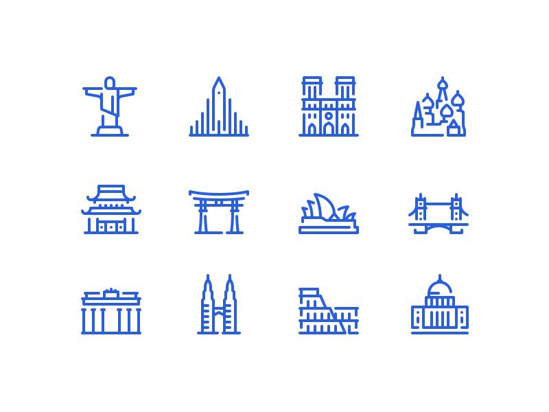 Landmark icons architecture history building world outline icon travel landmark