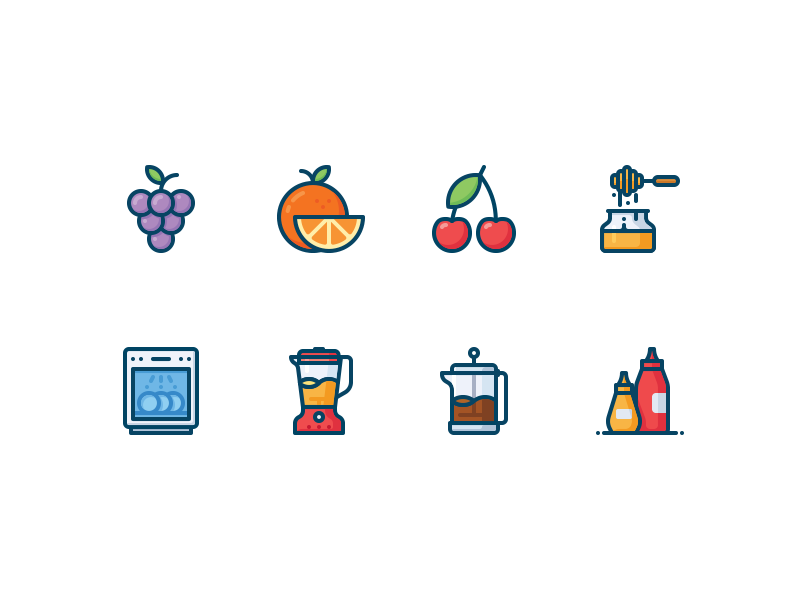 Kitchen and food icons color icon eat ketchup french press blender honey cherry orange grapes kitchen food