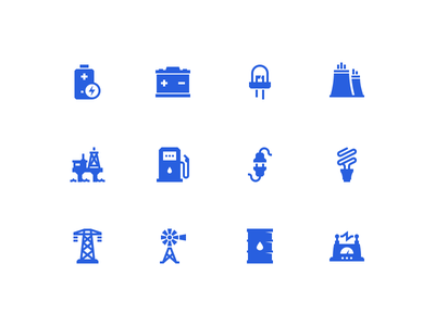 Energy icons lighting plug generator battery oil bulb electricity power glyph vector icon energy