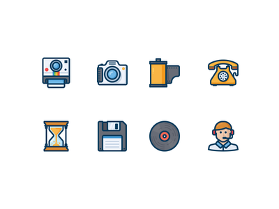 Unsorted icons hourglass film disk support floppy time phone vector icon photo