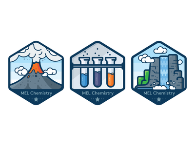 Badges for chemistry experiments 2 eruption test-tube vector icon sticker badge nature waterfall chemistry volcano