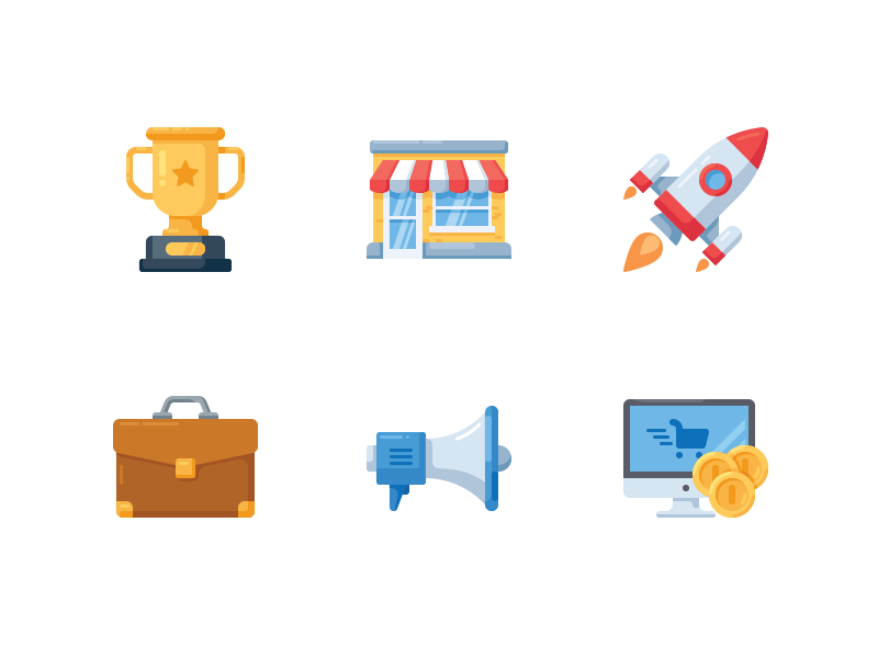 Business icons commerce computer business startup megaphone flat icon coin shop trophy case rocket