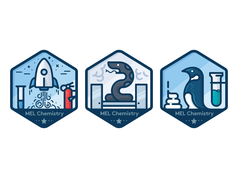 Badges for chemistry experiments 3 by Dmitriy Mir on Dribbble