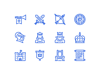 Medieval icons princess bow throne crown knight sword king outline icon castle medieval