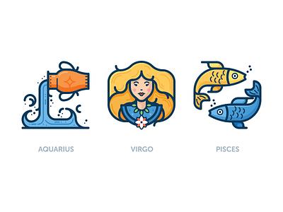 Zodiac icons woman water fish girl zodiac vector color icon aquarius pisces virgo