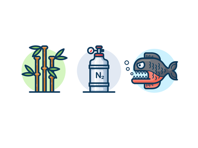 Icons for the science video plant nature vector icon fish piranha tank nitrogen bamboo