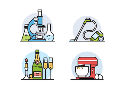 Unsorted icons kitchen alcohol science flask icon bottle champagne mixer vacuum cleaner microscope