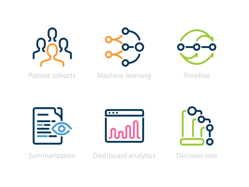 Icons for healthcare company medicine tree machine learning user dashboard doc timeline icon