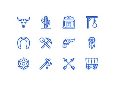 Wild west icons wagon axe dreamcatcher horseshoe sheriff tomahawk icon gold rush cactus cowboy wild west