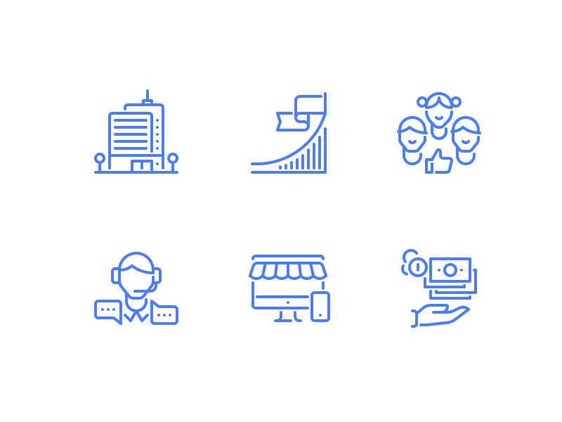 Icon for web shop shop user team salary money pc support chart building icon