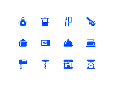 Kitchen icons food toaster slicer knife mixer coffee apron pot icon kitchen