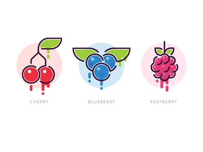 Berries vector fruit flat blueberry raspberry cherry food icon berry