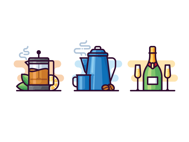 Beverages icons hot vector icon glass bottle pot champagne tea coffee beverage drink