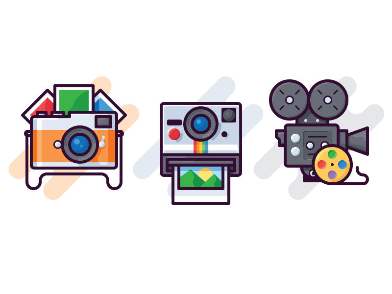 Cameras icons film shot rgb instant colorful image vector icon video photo camera