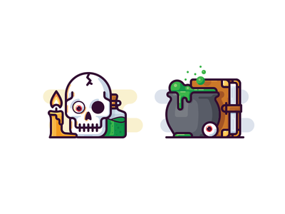 Witch icons potion poison candle cauldron skull magic book vector icon witch