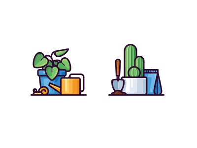Plant icons leaf pot shovel icon vector snail cactus watering can plant